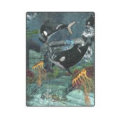 """Amazing orcas Blanket 58""""x80"""""""