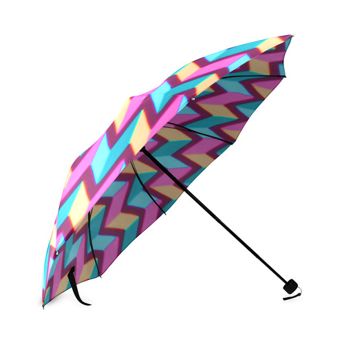 Blue Pink Gold Geometric Pattern Foldable Umbrella (Model U01)