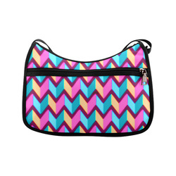 Blue Pink Gold Geometric Pattern Crossbody Bags (Model 1616)