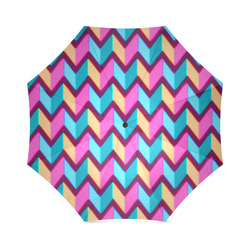 Blue Pink Gold Geometric Pattern Foldable Umbrella (Model U01)