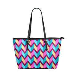 Blue Pink Gold Geometric Pattern Leather Tote Bag/Large (Model 1651)