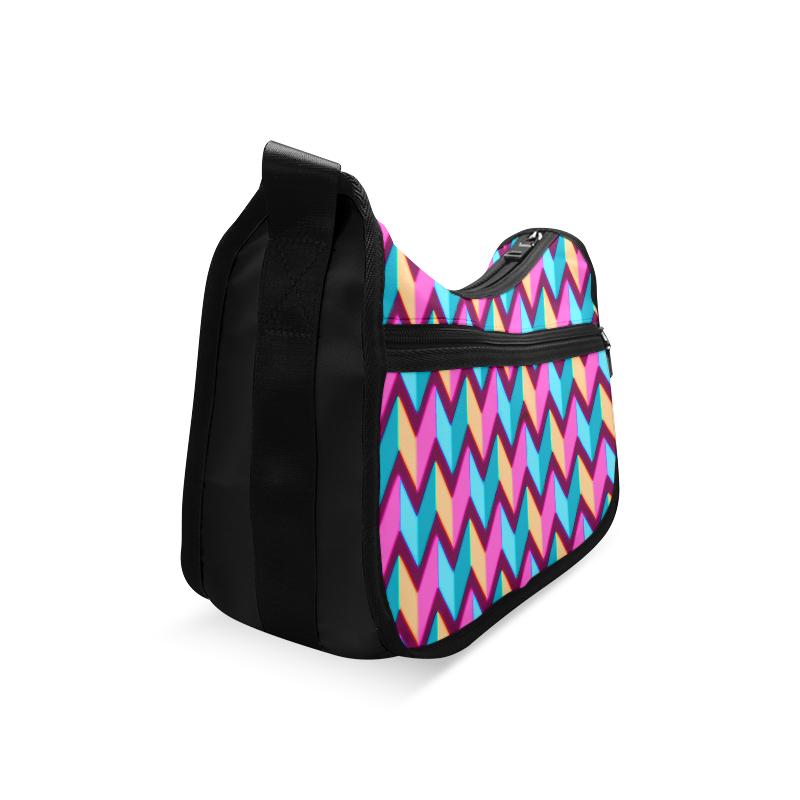 Blue Pink Gold Geometric Pattern Crossbody Bags (Model 1616)