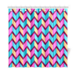 "Blue Pink Gold Geometric Pattern Shower Curtain 72""x72"""