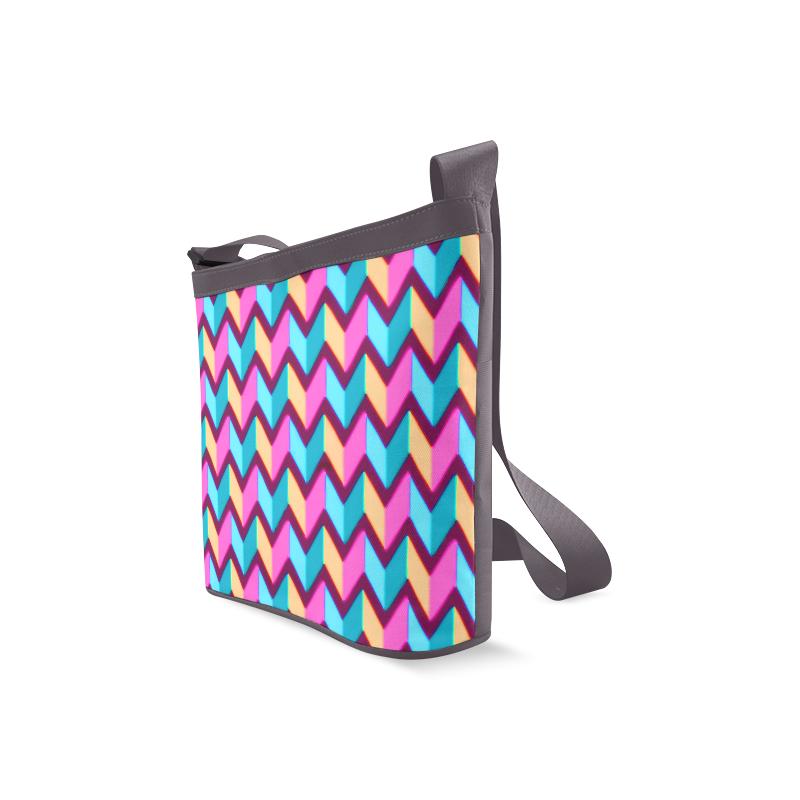 Blue Pink Gold Geometric Pattern Crossbody Bags (Model 1613)