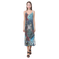 Beautiful mermaid swimming with dolphin V-Neck Open Fork Long Dress(Model D18)