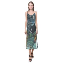 Amazing orcas V-Neck Open Fork Long Dress(Model D18)