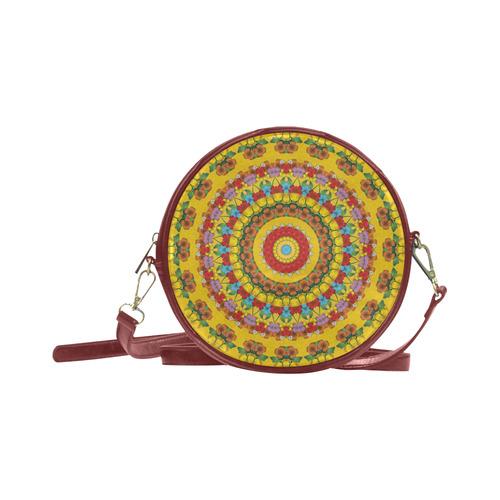Blooming mandala Round Sling Bag (Model 1647)