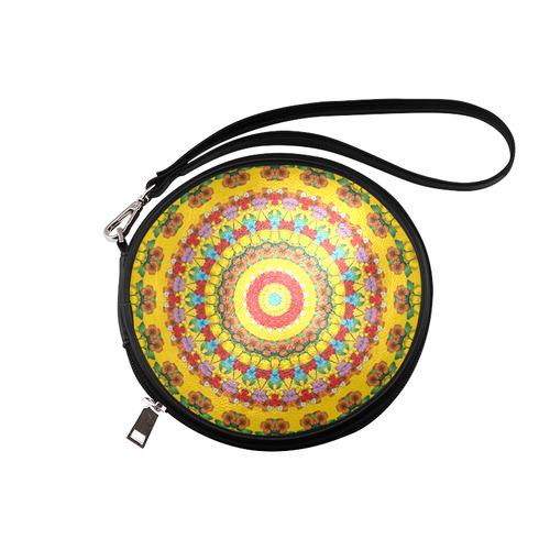 Blooming mandala Round Makeup Bag (Model 1625)