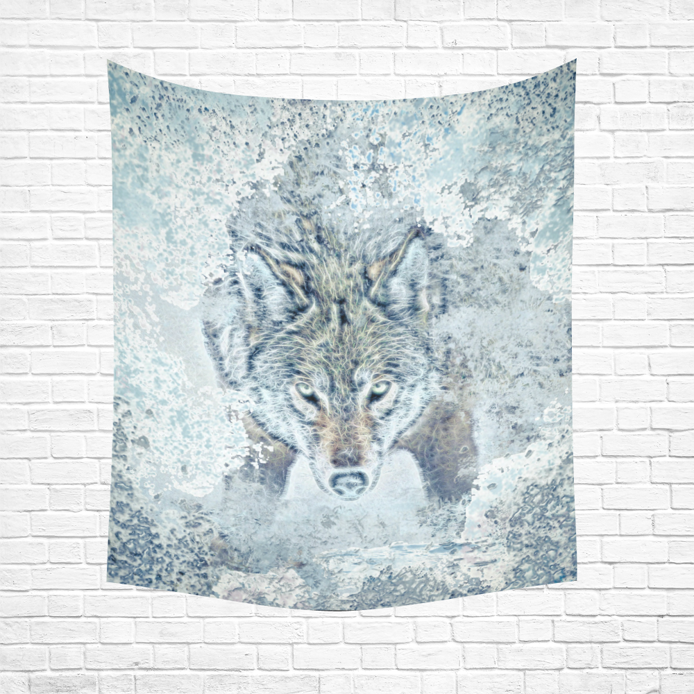 """Snow Wolf Cotton Linen Wall Tapestry 51""""x 60"""""""