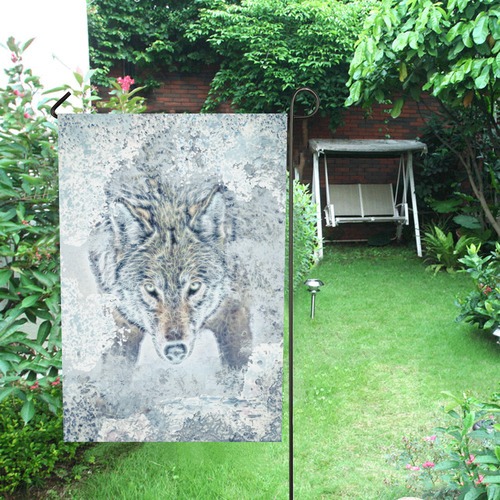Snow Wolf Garden Flag 28''x40'' (Without Flagpole)