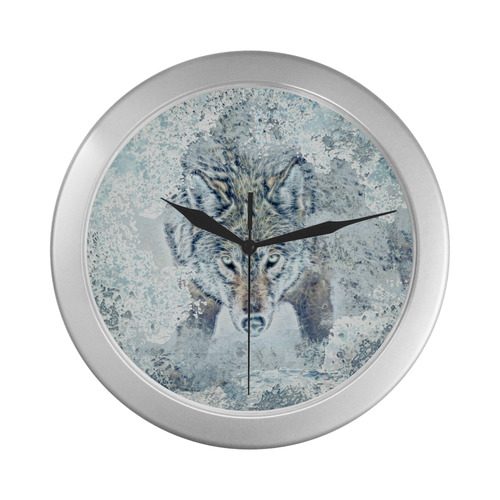 Snow Wolf Silver Color Wall Clock