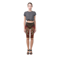 Dragon, tribal design Hestia Cropped Leggings (Model L03)