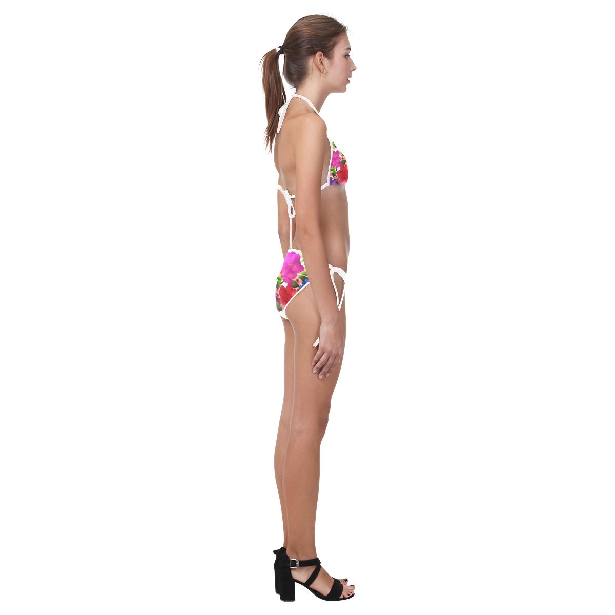 Red Purple Blue Pink Watercolor Floral Custom Bikini Swimsuit (Model S01)