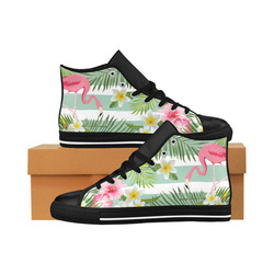 Stripe Flamingp Aquila High Top Microfiber Leather Women's Shoes (Model 027)