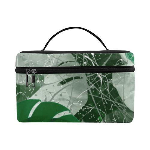 Tropical leaves Cosmetic Bag/Large (Model 1658)