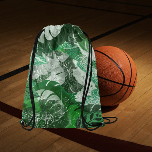 "Tropical leaves Medium Drawstring Bag Model 1604 (Twin Sides) 13.8""(W) * 18.1""(H)"