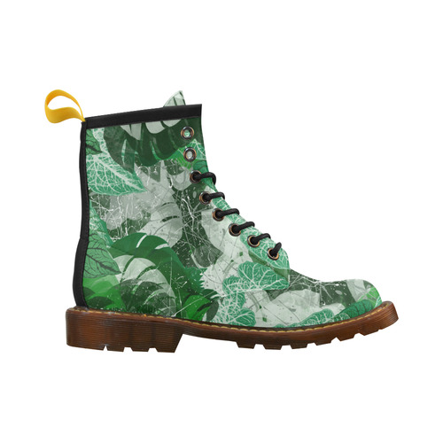 Tropical leaves High Grade PU Leather Martin Boots For Women Model 402H