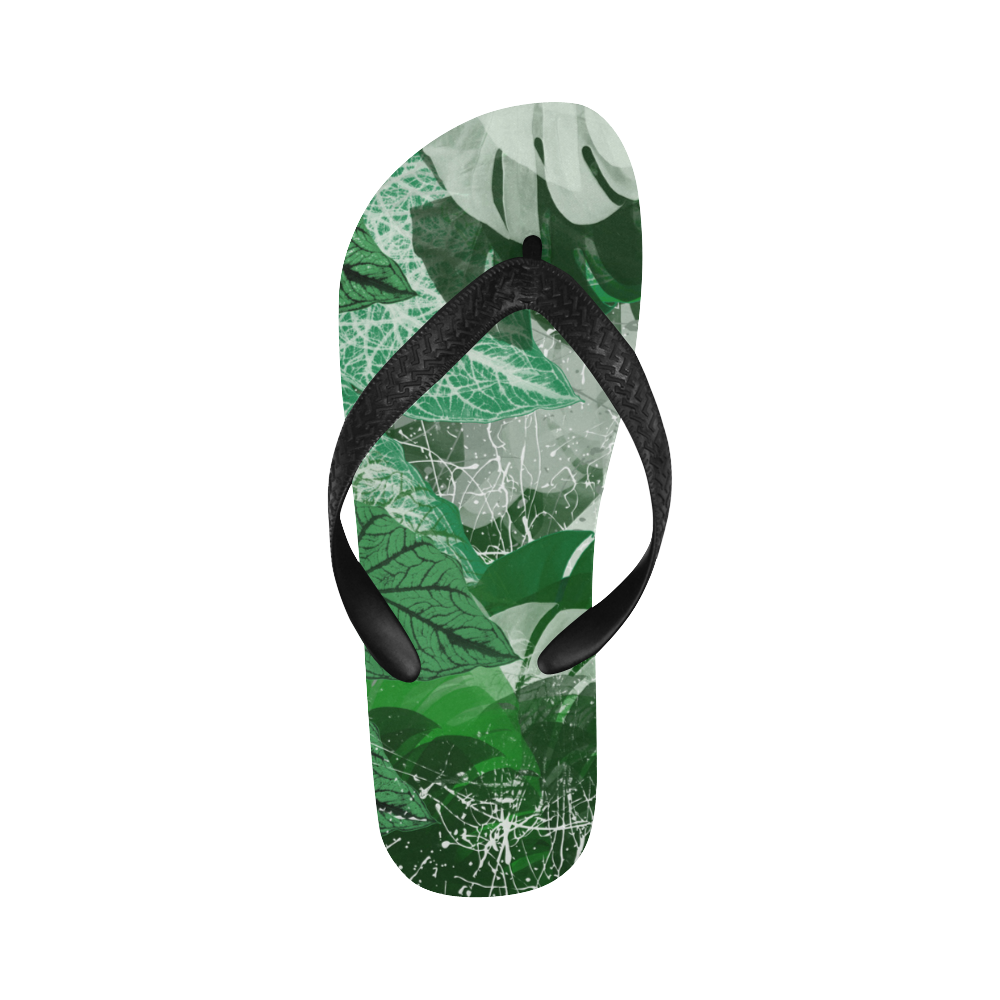 Tropical leaves Flip Flops for Men/Women (Model 040)