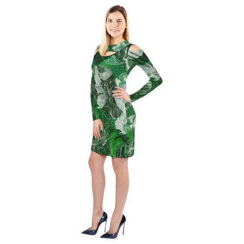 Tropical leaves Cold Shoulder Long Sleeve Dress (Model D37)