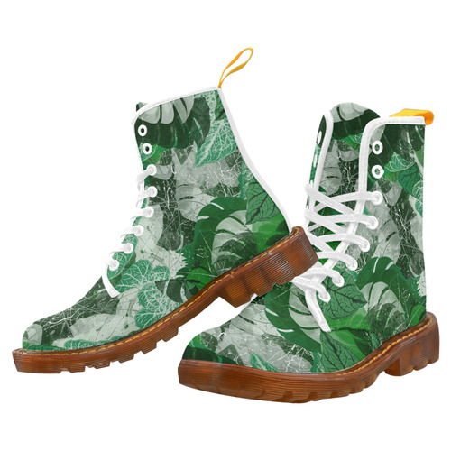 Tropical leaves Martin Boots For Women Model 1203H