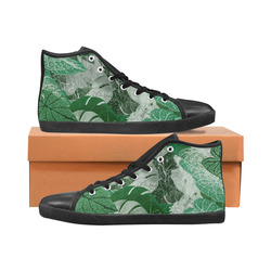 Tropical leaves Women's High Top Canvas Shoes (Model 002)