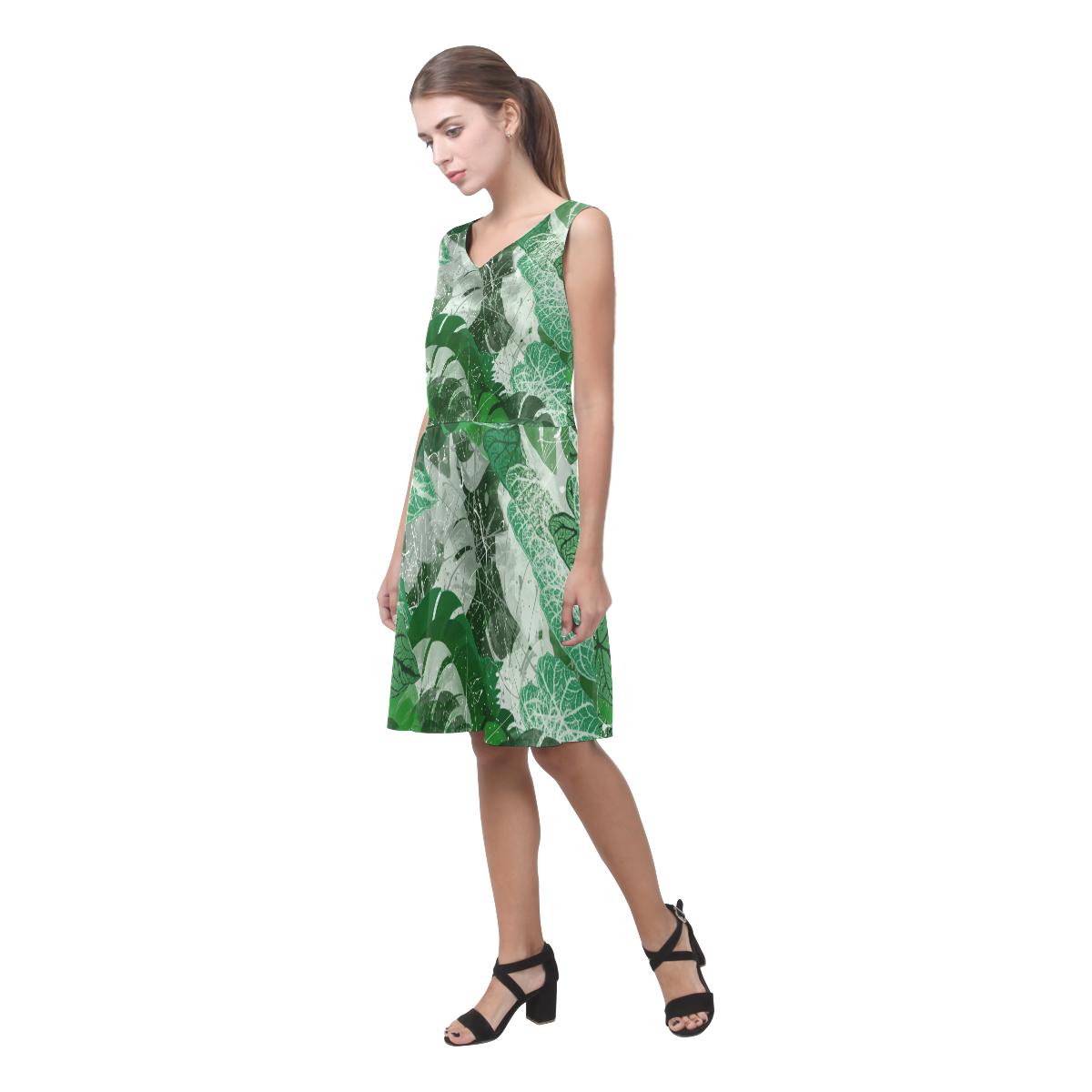 Tropical leaves Chryseis Sleeveless Pleated Dress(Model D07)
