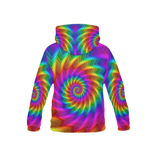Psychdelic Rainbow Spiral All Over Print Hoodie for Kid (USA Size) (Model H13)