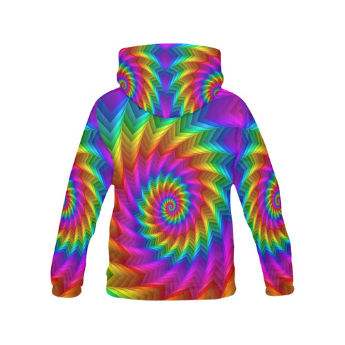 Psychdelic Rainbow Spiral All Over Print Hoodie for Women (USA Size) (Model H13)