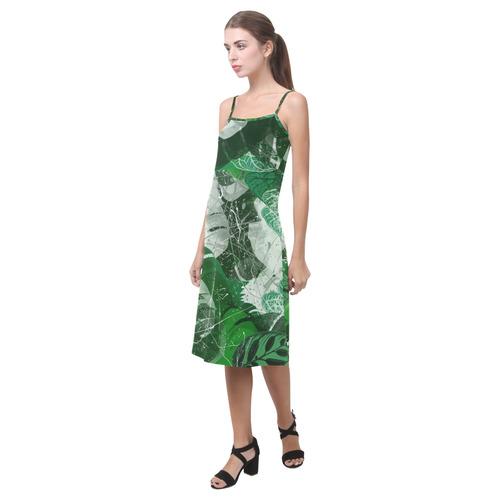 Tropical leaves Alcestis Slip Dress (Model D05)