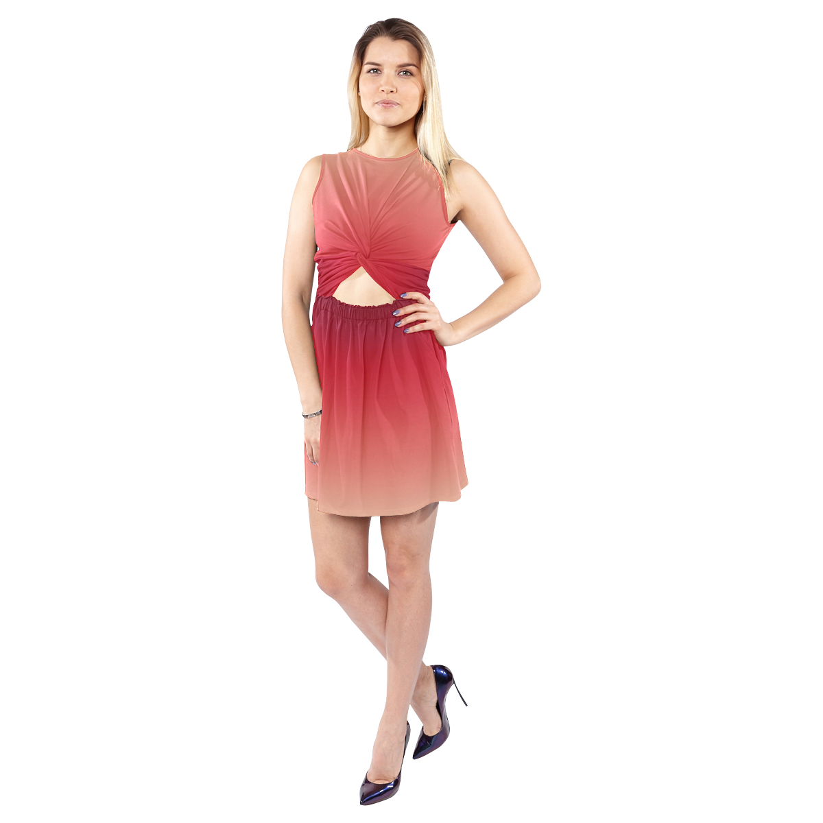 Pastel Red Gradiant Sleeveless Cutout Waist Knotted Dress (Model D39)
