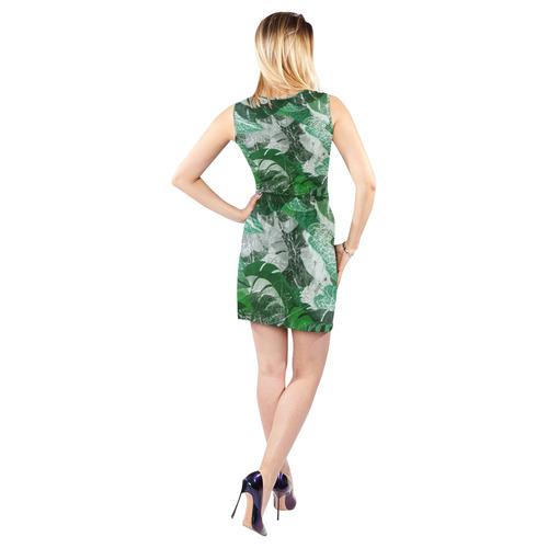 Tropical leaves Sleeveless Cutout Waist Knotted Dress (Model D39)