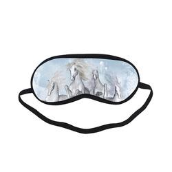 Awesome white wild horses Sleeping Mask