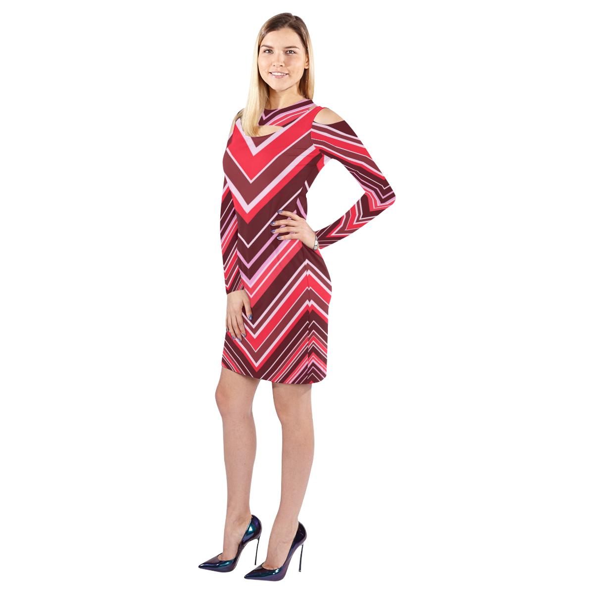 Red Chevron Pattern Cold Shoulder Long Sleeve Dress (Model D37)