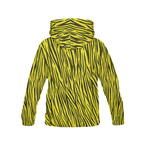 Yellow Zebra Pattern Stripes All Over Print Hoodie for Women (USA Size) (Model H13)
