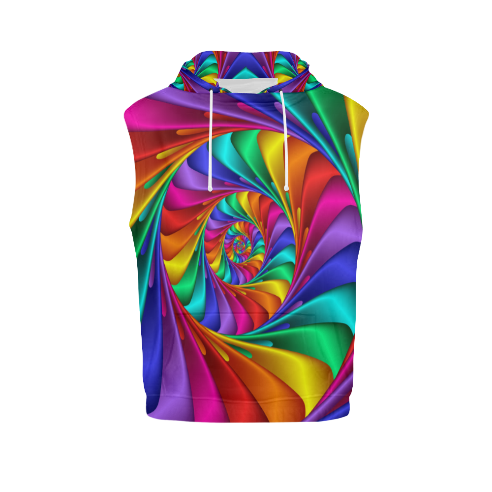 Psychedelic Rainbow Spiral All Over Print Sleeveless Hoodie for Men (Model H15)