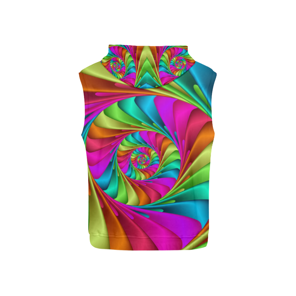 Psychedelic Rainbow Spiral All Over Print Sleeveless Hoodie for Kid (Model H15)