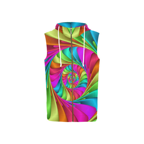 Psychedelic Rainbow Spiral All Over Print Sleeveless Zip Up Hoodie for Women (Model H16)