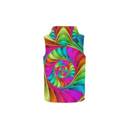 Psychedelic Rainbow Spiral All Over Print Sleeveless Zip Up Hoodie for Kid (Model H16)