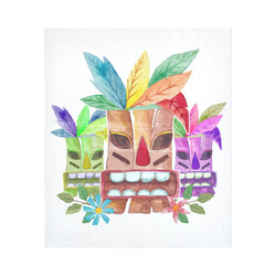 """Tiki Mask Watercolor Floral Summer Fun Cotton Linen Wall Tapestry 51""""x 60"""""""