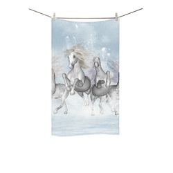 "Awesome white wild horses Custom Towel 16""x28"""
