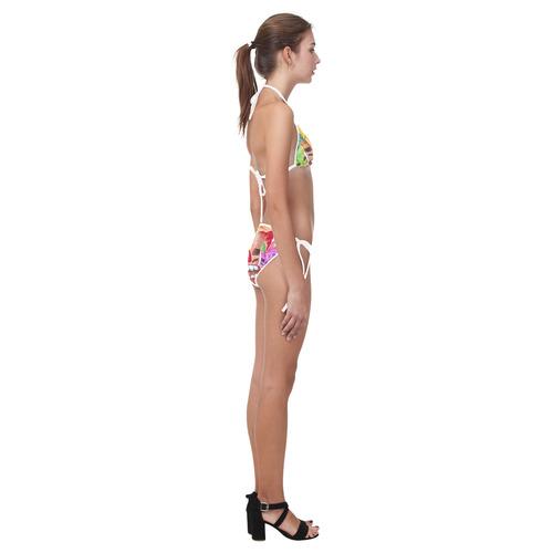 Tiki Mask Watercolor Floral Summer Fun Custom Bikini Swimsuit (Model S01)