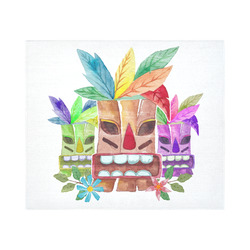 """Tiki Mask Watercolor Floral Summer Fun Cotton Linen Wall Tapestry 60""""x 51"""""""