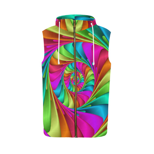 Psychedelic Rainbow Spiral All Over Print Sleeveless Zip Up Hoodie for Men (Model H16)