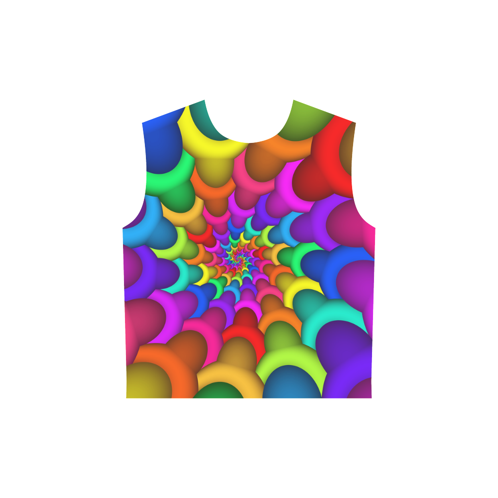 Psychedelic Rainbow Spiral All Over Print Sleeveless Hoodie for Women (Model H15)