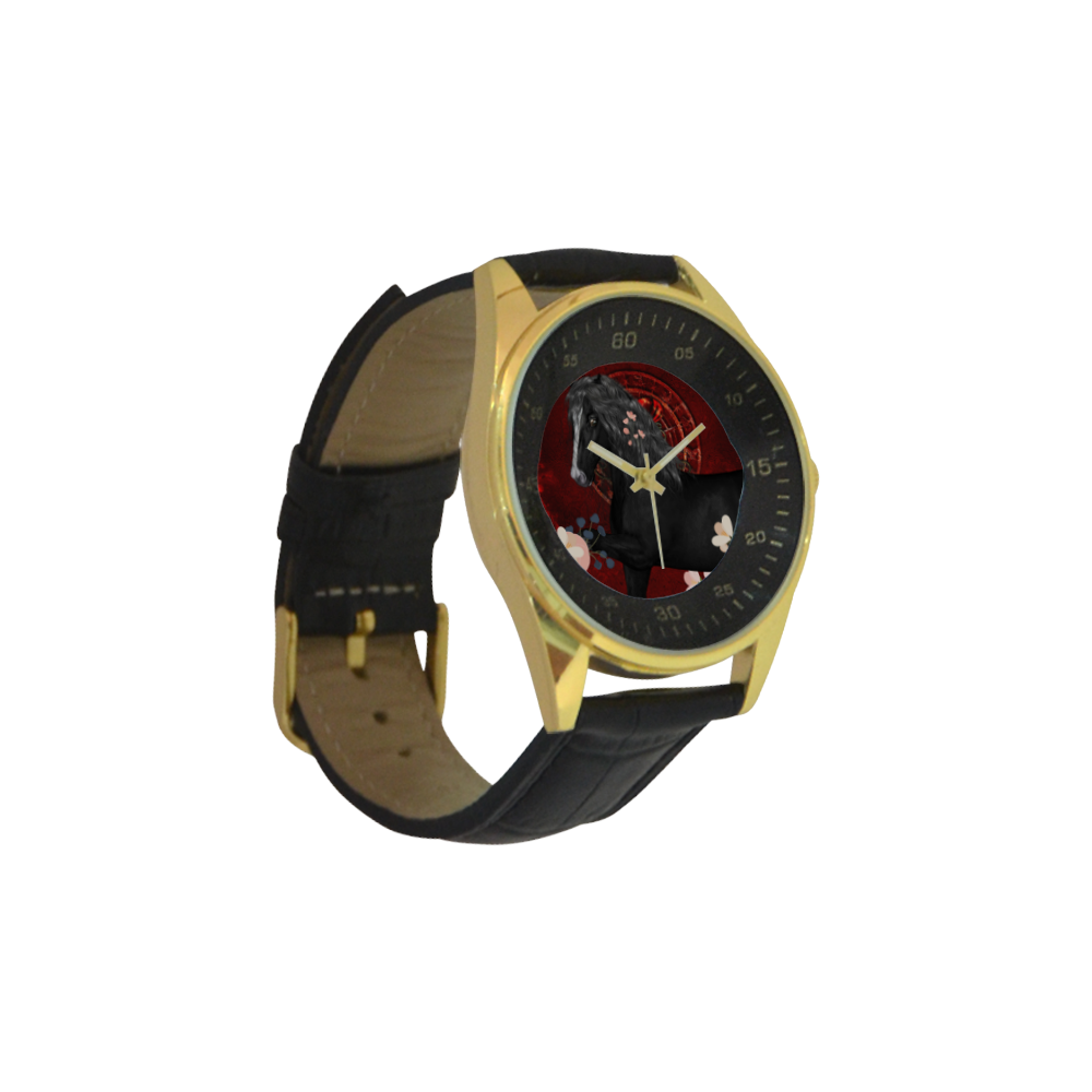 Black horse with flowers Men's Golden Leather Strap Watch(Model 210)