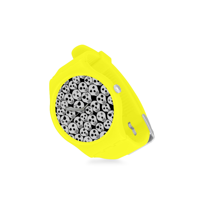 Silly Skull Halloween Design Unisex Round Rubber Sport Watch(Model 314)