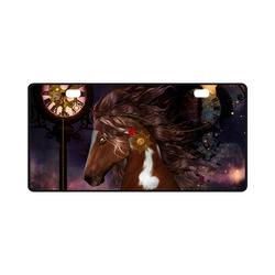 Awesome steampunk horse with clocks gears License Plate