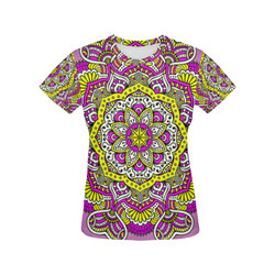 Cute Pink Yellow Floral Mandala All Over Print T-Shirt for Women (USA Size) (Model T40)