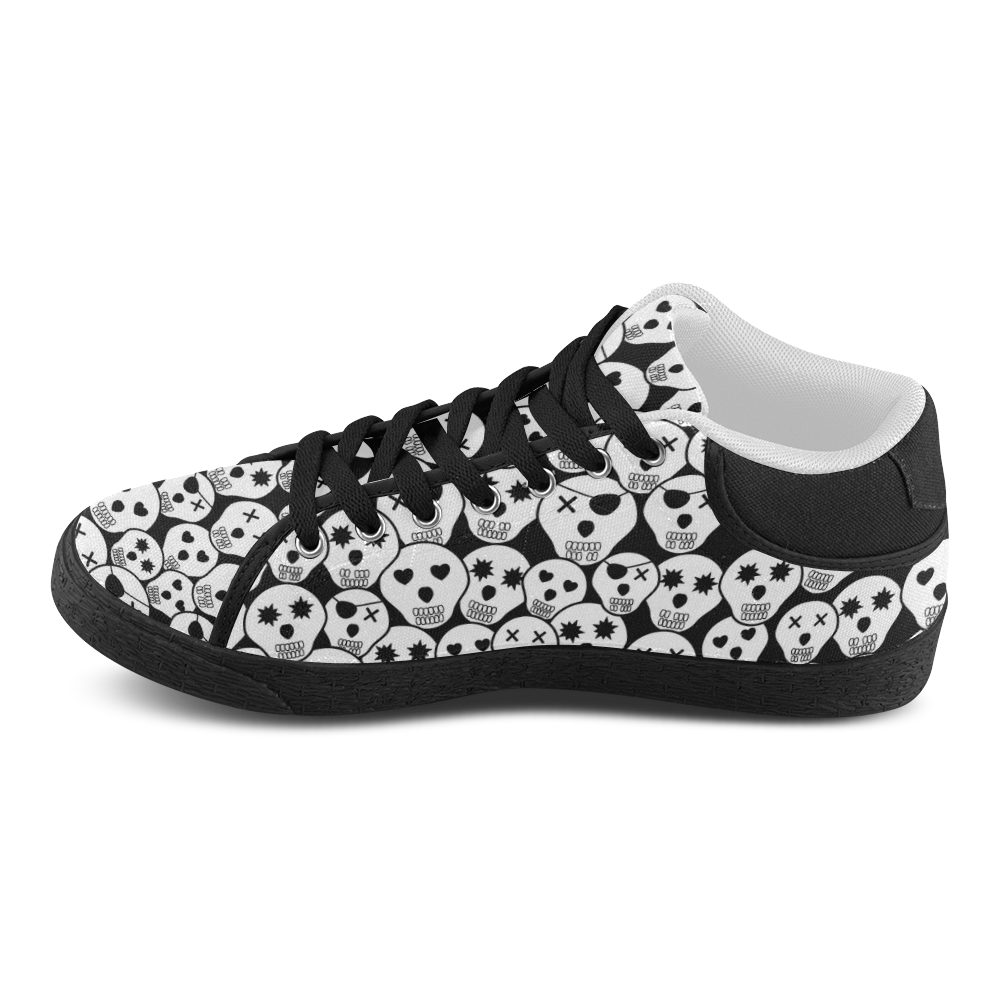 Silly Skull Halloween Design Women's Chukka Canvas Shoes (Model 003)