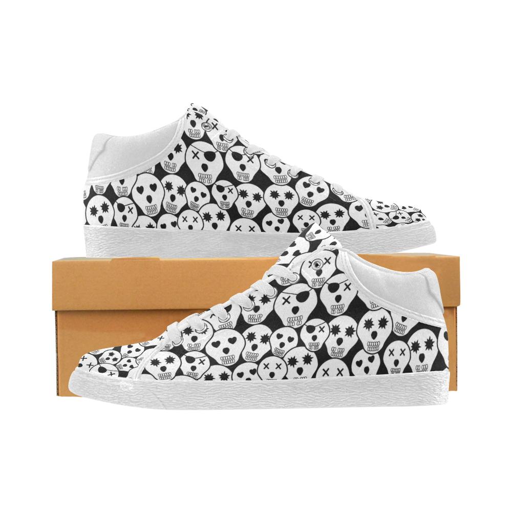 Silly Skull Halloween Design Women's Chukka Canvas Shoes (Model 003)